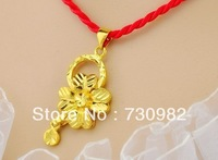9k 14k 18k yellow gold pendants golden rose  style fashion suits for all chain necklace   romantic gift