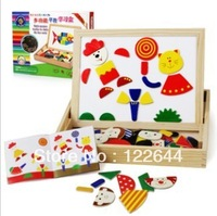 Multifunctional box puzzle magnetic wooden drawing board double faced oppssed black-and-white