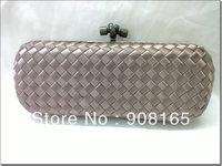 free shipping new 100% silk woven grey women handbags fashion clutch bag  evening handbag