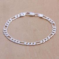 "Lose money promotion Men's 925 Silver Bracelet Figaro Chain Bracelets 6mm 8"" Wholesale Fashion 925 Sterling Silver Jewelry H219"