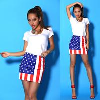 Fashion american flag aa sexy all-match bust skirt short skirt