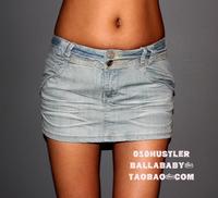 Autumn fashion light color slim butt-lifting denim miniskirt bust skirt