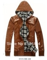 Free shipping Men 's  High Quality PU Leather Jacket Hooded Coat Zipper Design Men's Double Sided Leather coat  2 colors M - XXL