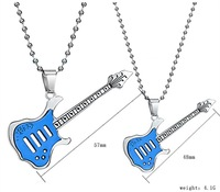 Wholesale\ Retail!  New Fashion Jewelry Stainless Steel Music Guitar Charm Pendant Necklace For Lover, Lowest Price Best Quality