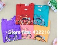 Free shipping TX10 Girls short-sleeved T-shirt short sleeve big boy double braids girl Kid T-shirt O-neck short