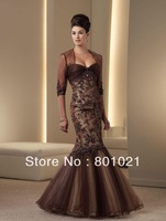Fancy Newly Designed Mermaid Tulle Gathered Empire Bodice Strapless Sweetheart Mother of the Bride Dress