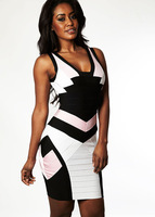 New Brand 2013 Bodycon Dresses Women Elastic Black And Pink Bandage Dress Celebrity Elegant Party Evening Dresses