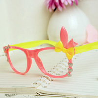 E79 rabbit ear glasses frame polka dot bow peach heart glasses female myopia decoration picture frame