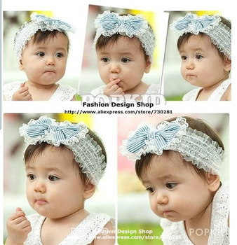 New arrival 1lot of 5pcs Cute lace bows striped pearl hari accessories headbands for baby girls free shipping CZR032