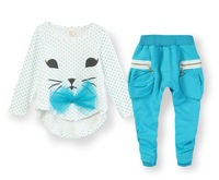 Drop shipping,Wholesale lovely baby girl's suit set 2-piece set fashion top+pant 100% cotton fabric Y1-Y4 kid's cloth