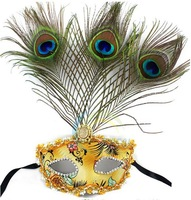 Free Shipping Luxury Venetian Masquerade Ball Cosplay Halloween Party Masks Antique Quality leather peacock feather mask