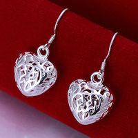 Lose money Promotion! Wholesale 925 silver earrings, 925 silver fashion jewelry,  girl Heart-shaped hollow Earrings E021
