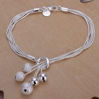 Promotion Free Shipping 925 Silver Bracelet Fashion Jewelry Girls Bracelet Small O-hanging the sand light beads bracelet H243