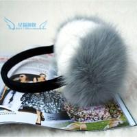Earmuffs fox fur rabbit fur two-color ear package thermal