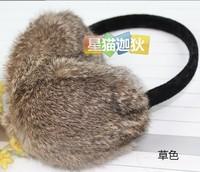 Large rabbit fur earmuffs plush ear cover sub- autumn and winter thermal ear bag chromophous adjustable
