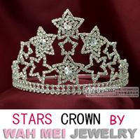 Wah Mei Jewelry stars crown beauty pageant rhinestone crown tiara  wmc001