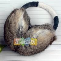 Hair bands pure rabbit fur earmuffs ear cover sub- quality earmuffs Large chromophous adjustable