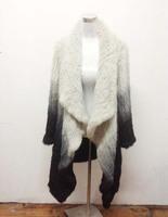 Promotion High Quality Gradient rabbit hair weaving flower shirt Coat Fur winter Coats long Brand winter ems Free Shipping