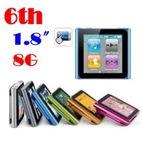 "50% shipping fee 100 pieces Hot Sale 1.8"" LCD 6th clip Digita MP3 MP4 Player Video FM Radio E-Book Gift For  8GB 16GB   #8581"