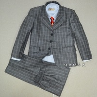 free shipping brand new arrival plaid child clothing boy formal dress suit 5 pieces set retail