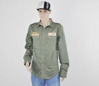 Hip hop Dark Army Green long-sleeve shirt -urban clothing