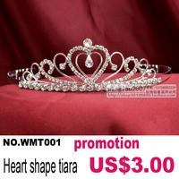 Wah Mei Promotions rhinestone bridal wedding heart tiara crown headdress wmt001