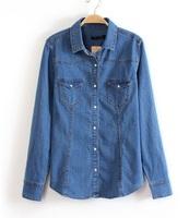 European Style Women Casual Denim Turn down Collar Full Sleeves Jean Blouses Blue