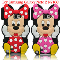 Free shipping  latest style 3D mickey Silicone Case cover soft Skin For Samsung Galaxy NOTE II N7100