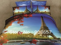 500TC blue Eiffel Tower printed Gentleman bedding set 3D oil painting luxurious bed linen cotton full queen duvet covers sets 4p