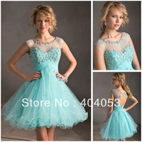 Empire Waist Short Sleeves Crystal Beaded Organza Ball Gown Free Shipping Above Knee Mini Short Cocktail Dress  EG1735