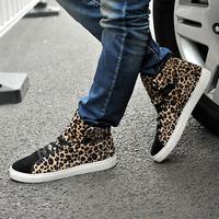 2014 NEW nubuck leather high shoes leopard print fashion men's shoes sneakers sport shoes
