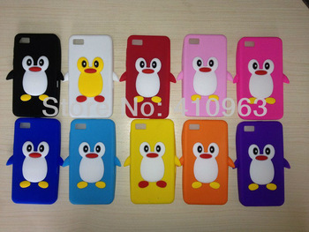 Free shipping 1pcs/lot 3D Cute Cartoon Penguin Snap-on Silicone Cover Case For Black berry Z10+ film