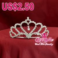 Wah Mei jewelr promotions rhinestone heart shape flower girl  tiara wedding crown headdress wmsc001