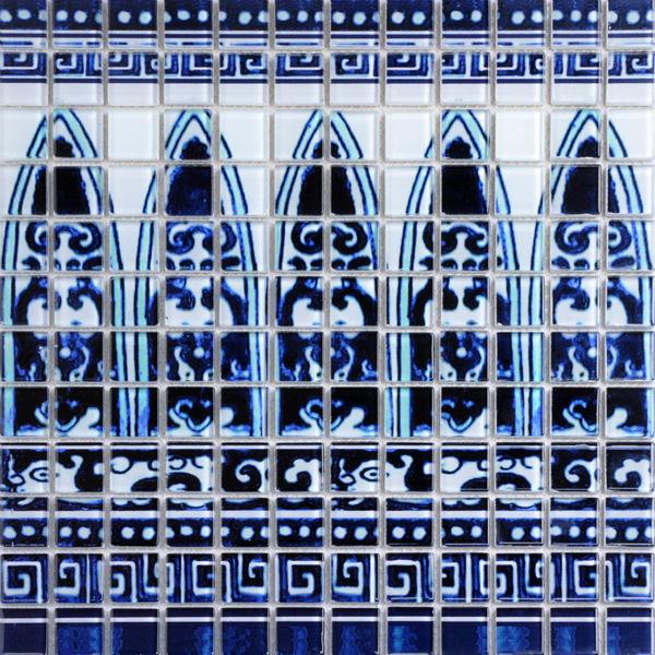 Metrotegels Keuken Kopen : Blue and White Glass Mosaic Tile