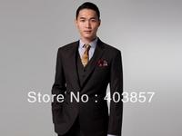 Design Men Suit Custom Made Suit  Slim Fit Men Suit Dress Brown Suit 3 Pieces(Jacket+Pant+Vest) Men Suit Elegant Suit MS0307