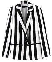 Free Shipping New Arrivel Blazers for Woman Autumn 2013 Popular Longsleeve Black with White Strip Fashion Lady Suits 2013072906