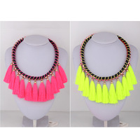 Free shopping 2013 Fluorescent multilayer tassel short paragraph female clavicle necklace fashion