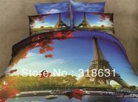 4 or 5pcs Newest Design World-famous Beautiful Paris Eiffel Tower Bedding Set Duvet Cover Set with Comforter Queen Size