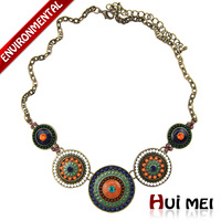 Hot New Arrival Vintage Women Copper Plated Colorful Beads Link Choker Necklace Jewelry