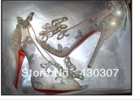 Limited Cinderella Glass Slipper sandals,crystal wedding shoes high heels peep pumps bowknot Red bottom wedding shoes