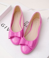 Fashion women's shoes bright japanned leather double layer bow round toe single shoes candy color flat single shoes