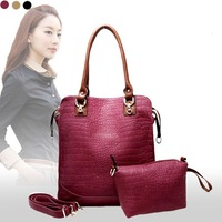 Free shipping 2013 new Stylish female handbag crocodile pattern Brand stylish shoulder bag Ladies design Totes 4 colors
