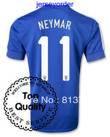 new arrive 2013 -2014 Thailand Quality soccer jersey Brazil #11 NEYMAR blue jersey 13/14 Season National team football