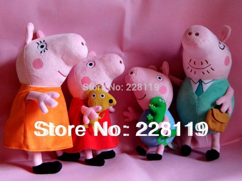 "3.25 Shopping Festival 38cm 15.2"" Cartoon Peppa Pig Family Peppa George Plush Toy 4pcs/set Best Gift For Kids pepa(China (Mainland))"