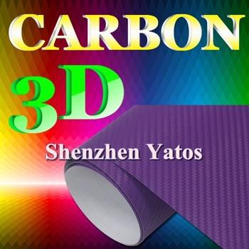 Purple Wrapping Car Film 3d Carbon Foil  Air Bubble 1.52*30M