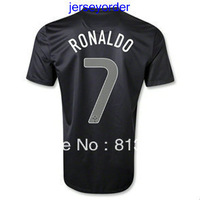 Best 2013 -2014 Thailand Quality soccer jersey Portugal #7 RONALDO black jersey 13/14 Season National team football hot sell