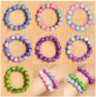 [Free Shipping] Full ! HARAJUKU accessories color block elastic glass bead gradient bracelet women