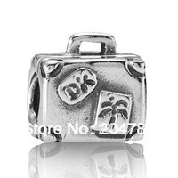 Silver Suitcase charm European Bead Compatible with Snake chain Bracelets (925 ALE) #229