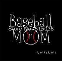 DHL Free Shipping 40pcs/Lot Baseball mom hot fix rhinestone transfers applique design,MOQ(30pcs each design) is acceptable