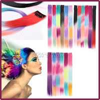 10pcs/lot Mixed colors Long Synthetic Clip In Hair Extensions Party Highlights Extensions Straight Hair piece